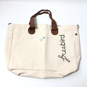 Ivory Canvas Tote Bag Nylon Interior Zip Closure